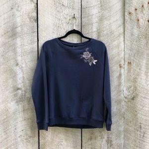Betsey Johnson | blue sweatshirt w/ flowers